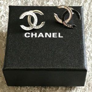 Chanel Double CC Classic Silver Earrings